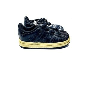 Adidas New Black Gold Superstar Sneakers Size 4